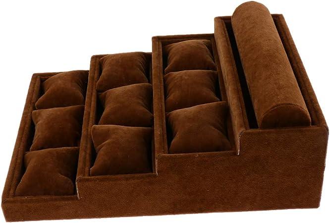 Sharplace Caja De Almacenamiento De Pulsera De 10 Ranuras Organizador De Joyería Soporte De Exhibición Estante De Escalera - marrón, Tal como se Describe: Amazon.es: Hogar