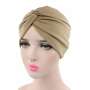 site réputé e927c 46eed COMVIP Femme Bonnet Croisé en Coton Indien Turban Uni Plissé Coiffure Chic  Mode