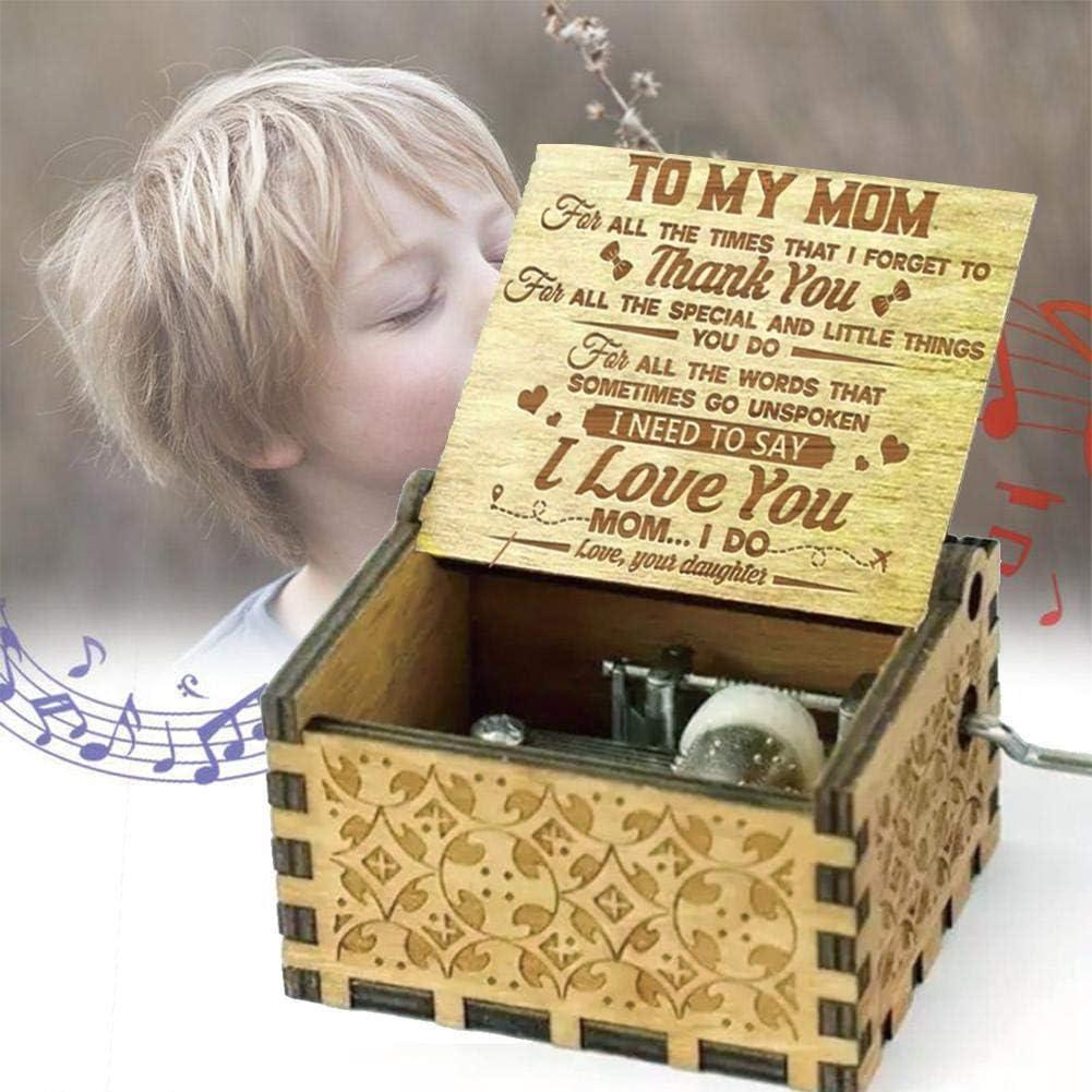"""mit englischer Aufschrift /""""You Are My Sunshine/"""" handgefertigt handgefertigt TOMMY LAMBERT Spieluhr handgeschnitzt Retro-Stil aus Holz"""