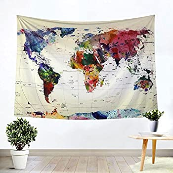 Amazoncom Artpanda Blue Watercolor World Map Tapestry Abstract - Cloth world map wall hanging
