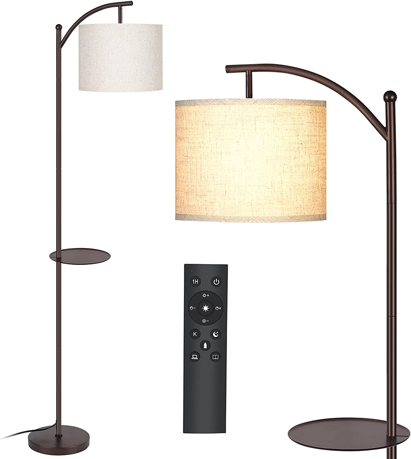 MOFFE Floor Lamp,Led Floor Lamp with Tray,4 Color Tempratures and Dimmable Brightness Standing Reading Lamps with Remote and Foot Control for Living Room,Bed Room,Office(Led Bulb Included),Brown