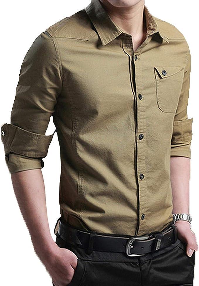 Camisa de Hombres Corte Cuello Camisa de Planchado sin ...