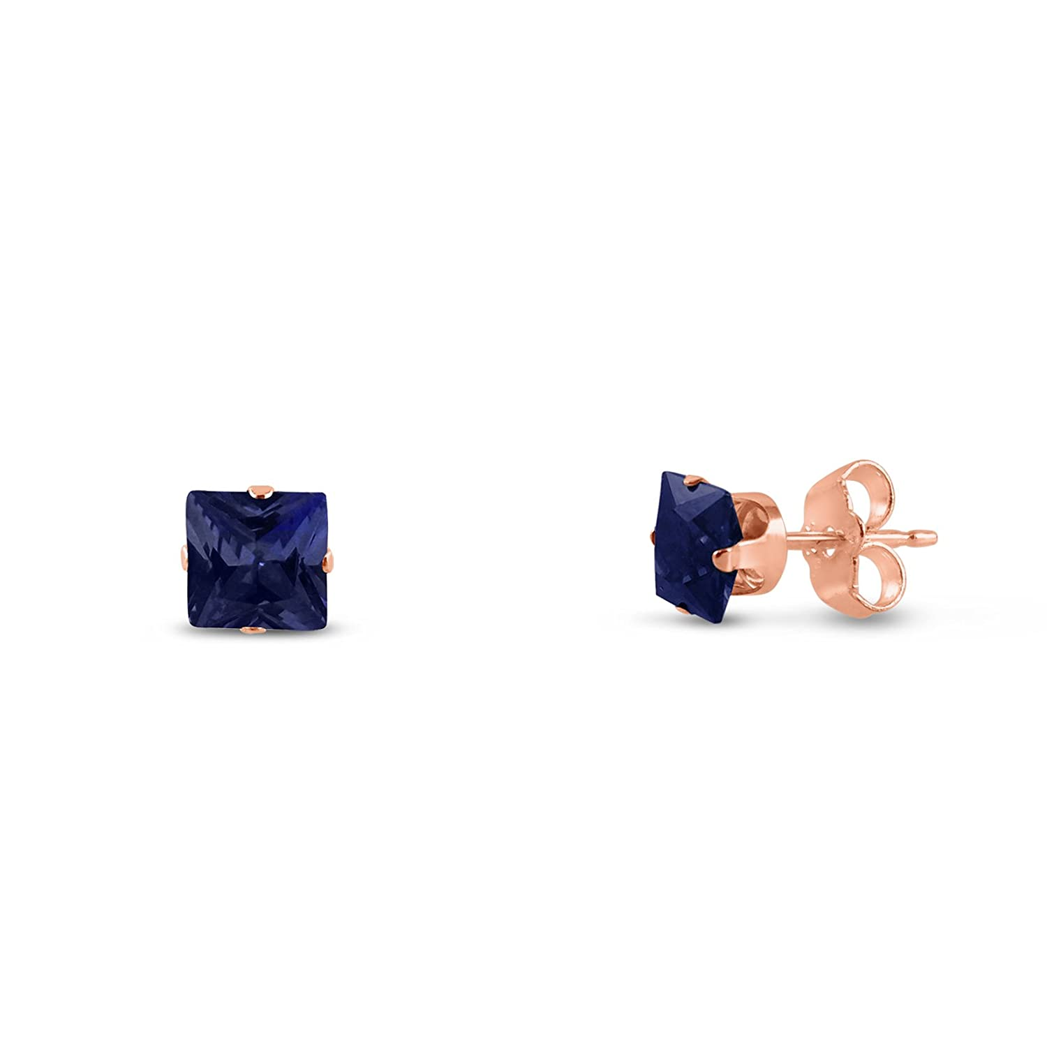 Square 2x2mm Extra Small Lab Created Blue Sapphire Rose Gold Plated Sterling Silver Stud Earrings