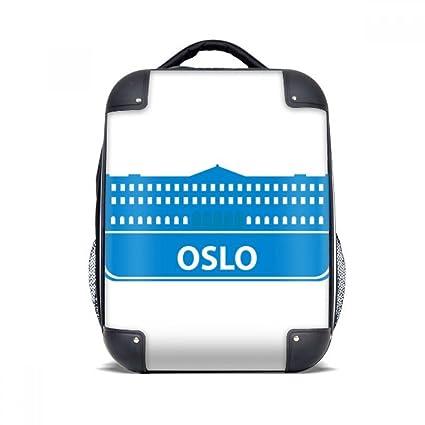 """DIYthinker Patrón Oslo Noruega Landmark Azul del Estuche rígido de Transporte para Hombro Niños Mochila 15"""""""
