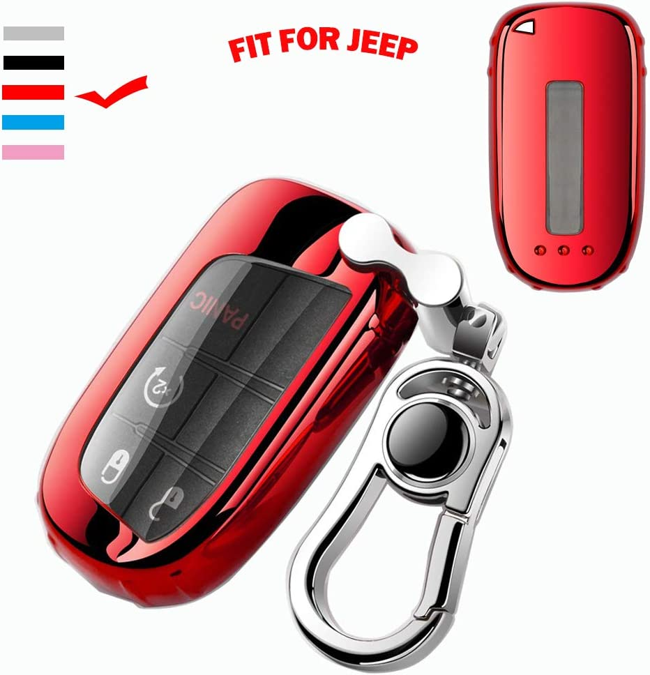 K LAKEY Key Fob Cover,Fit for Jeep Bottons Remote Key Grand Cherokee Renegade Compass Dodge Durango Journey Charger Challenger Key Fob,Smart Key Fob Soft TPU Case Shell with Alloy Keychain Red