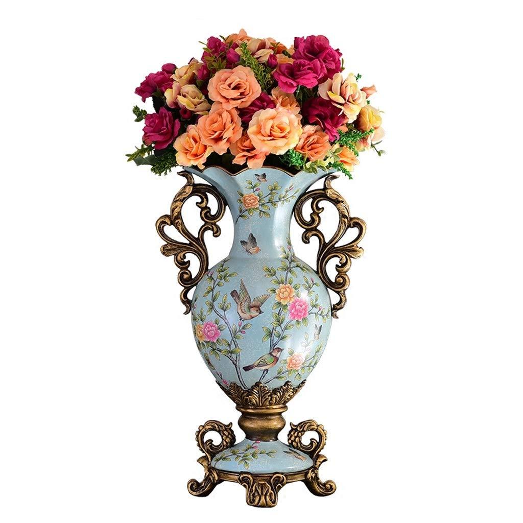 古典的な樹脂の花瓶ジャー乾燥した花のための背の高いヨーロッパのレトロな花瓶、リビングルームの寝室ライトブルー45.5センチメートルのためのホーム卓上装飾的な装飾品 B07SQW58DX