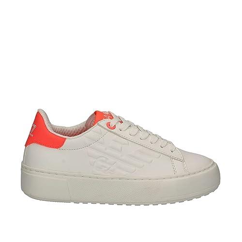 Emporio Armani EA7 Zapatos Zapatillas de Deporte Mujer en Piel Nuevo Classic up Blanco EU 37.13 288046 7P299 00010: Amazon.es: Zapatos y complementos