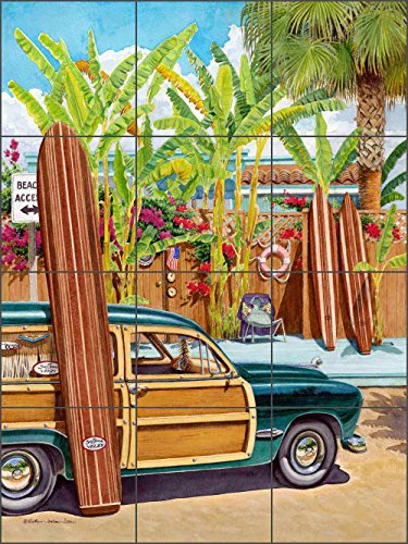 Beach Access by Evelyn Jenkins Drew - Tropical Surfboard Ceramic Tile Mural 12.75
