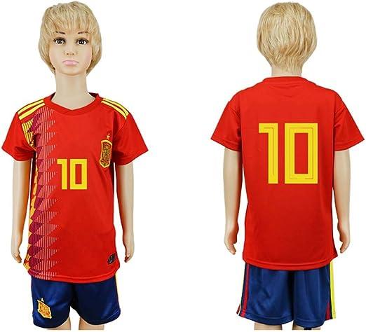 JONGIGO - Juego de Camiseta de fútbol para niños, diseño del Equipo Nacional de España 10 Home 2018, Casual, L (11-12 Years Old), Rojo: Amazon.es: Deportes y aire libre