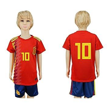 JONGIGO - Juego de camiseta de fútbol para niños, diseño del equipo nacional de España