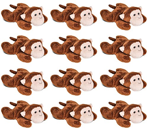 Wildlife Tree 3.5 Inch Monkey Mini Small Stuffed Animals Bulk Bundle of Zoo Animal Toys or Jungle Safari Party Favors for Kids Pack of 12