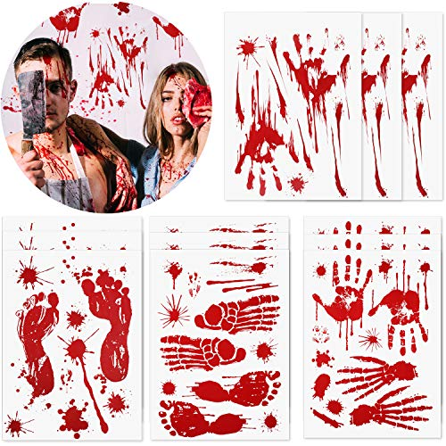 138 Pieces Halloween Bloody Footprint Stickers Bloody Handprint Floor Clings Window Wall Decals for Halloween Vampire Zombie Party Decorations Supplies