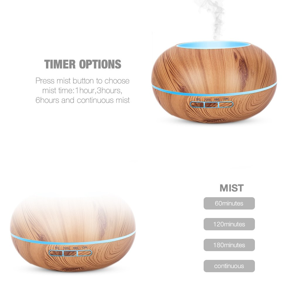 Amgaze Humidifier 300ml Cool Mist Ultrasonic Aroma Essential Oil Diffuser with 7 Color LED, 4-Time Setting, Adjustable Mist Mode and Waterless Auto -Off for Home Office Baby Use (Wood Grain) by Amgaze (Image #4)