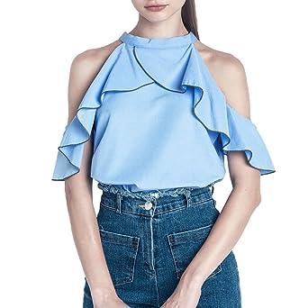 Las mujeres blusa, Fashion para mujer Off hombro Tops Casual de volantes blusa verano T