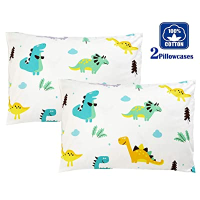 Brandream Kids Pillow Cases Set of 2 Standard 100% Cotton Dinosaur Pillow Covers Decorative: Home & Kitchen
