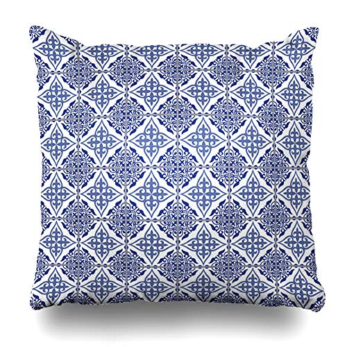(Ahawoso Throw Pillow Cover Square 24x24 Inches Carpet Spanish Gorgeous Patchwork Pattern Dark Blue Arabic Vintage Turkish Oriental Floor Floral Zippered Cushion Pillow Case Home Decor Pillowcase)