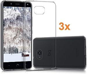 REY 3X Funda Carcasa Gel Transparente para BQ AQUARIS U2 / U2 Lite, Ultra Fina 0,33mm, Silicona TPU de Alta Resistencia y Flexibilidad