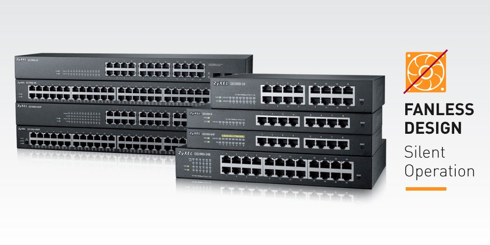 Zyxel 8-Port Gigabit Switch, 70W PoE+, Easy Smart Managed, Fanless, (GS1900-8HP)