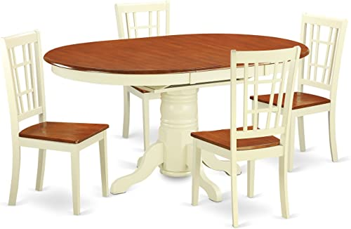 KENI5-WHI-W 5 PcKitchen Table set for 4-Dining Table and 4 Kitchen Dining Chairs
