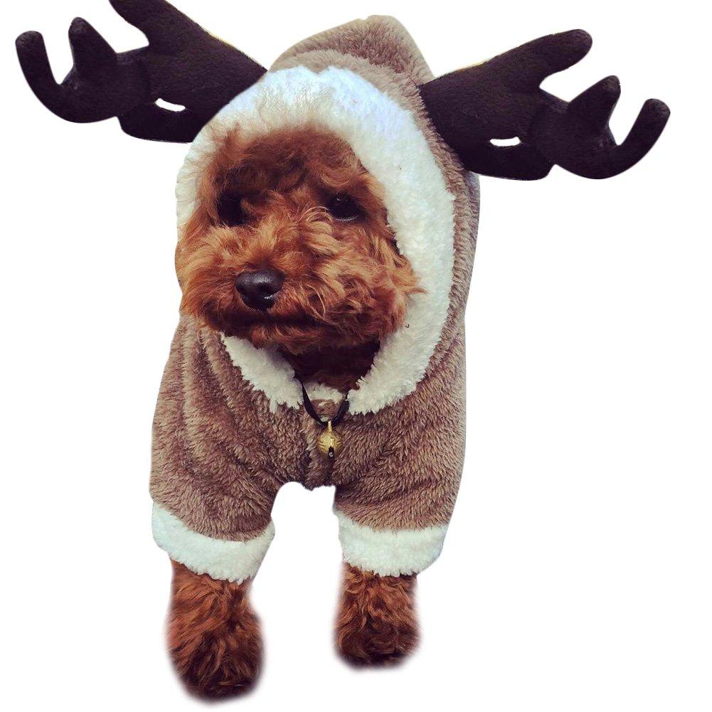 Kuuboo chaud Chiot Vêtements Pet Dog JumpSuit Sweat à capuche Manteau mignon Renne Cerf Motif cerf Chien Vêtements Jerseys Déguisement pour chien Puppy JumpSuit Vêtements pour chien Manteau Sweat à capuche pour Teddy, Yorkshire Terrier, Chihuahua, Pomérani