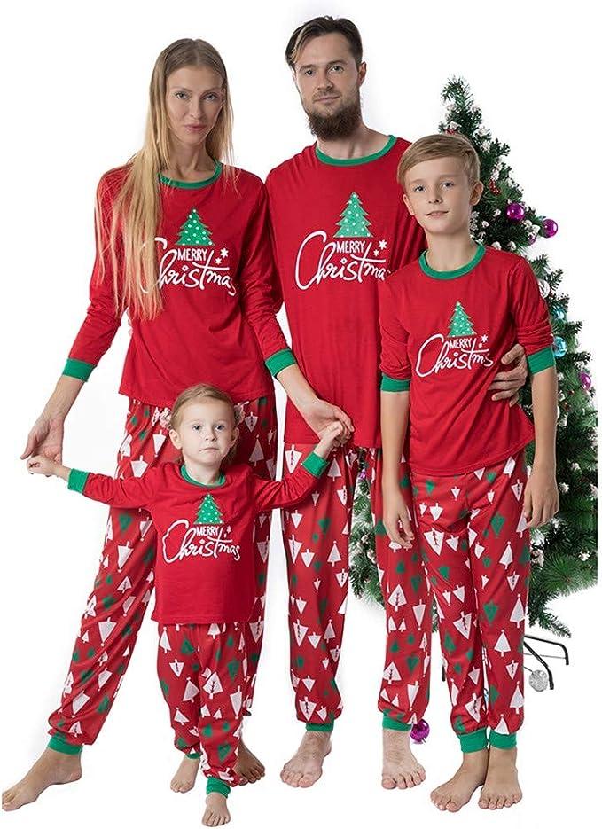 Surfiiy Pijama Familia Navidad Set Hombre Dos Piezas Árbol de ...
