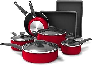 Crux Aluminum Nonstick 12 Piece Cookware Set (Red)