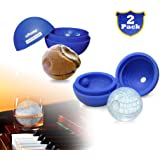 uHome Ice Ball Maker Mold - Blue Silicone Ice Cube Tray for Star Wars Lovers - 5.5X 5.8cm Round Ice Ball Spheres for Baking and Cool Drinks_2 Pack
