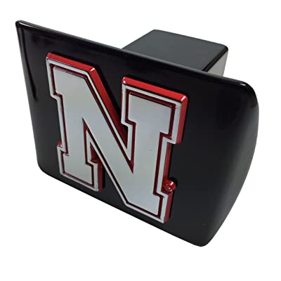 AMG University of Nebraska Metal Emblem (Chrome with red Trim) on Black Metal Hitch Cover (Iron N): Automotive