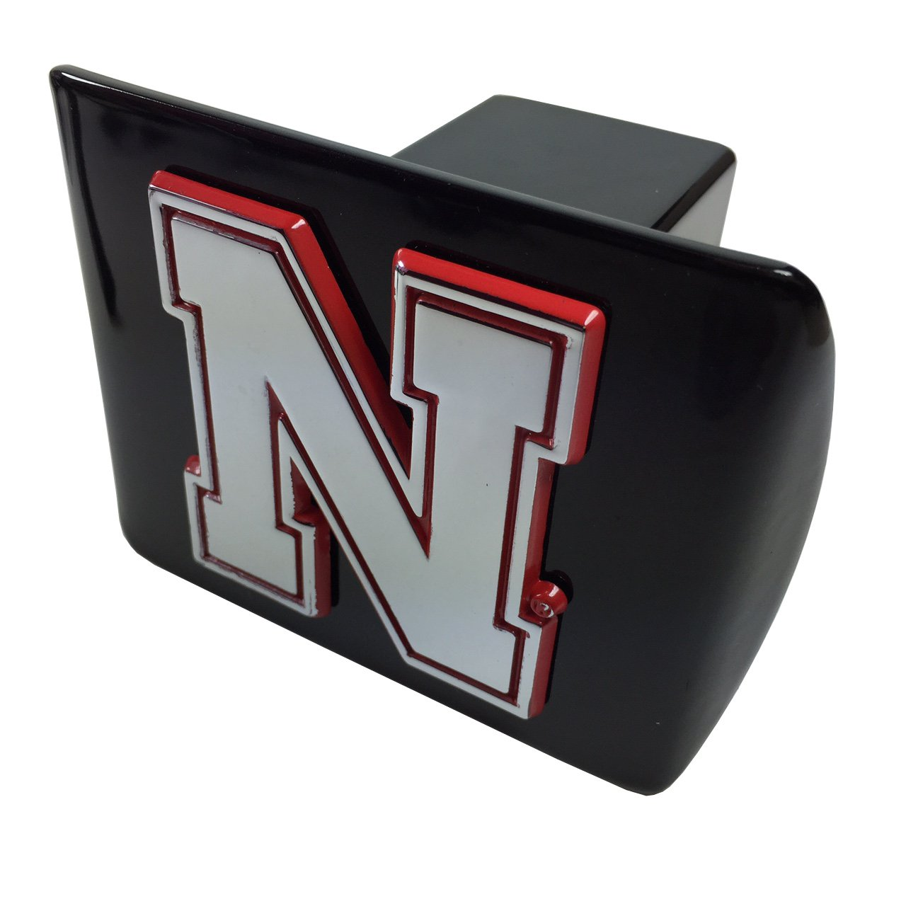 AMG University of Nebraska Metal Emblem (Chrome with red Trim) on Black Metal Hitch Cover (Iron N) by AMG