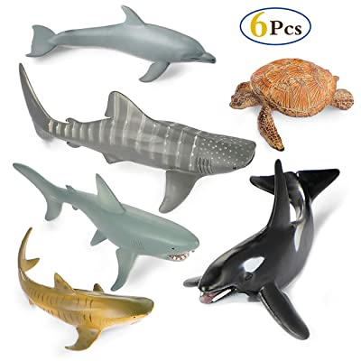 Sea Ocean Animals Figure Bath Toys Set,6 Piece Jumbo Sea Animals Toys,Realistic Wild Vinyl Pastic Animal Learning Party Favors Toys For Boys Girls Kids Toddlers Big Ocean Animals Toys Playset: Toys & Games