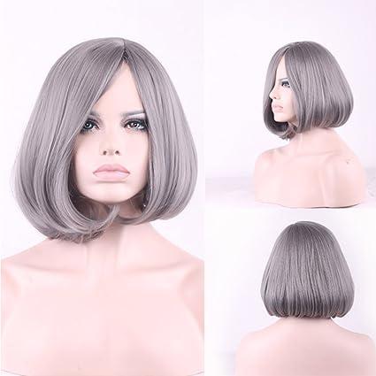 La nueva abuela gris bobo cabeza peluca gris plata de fibra