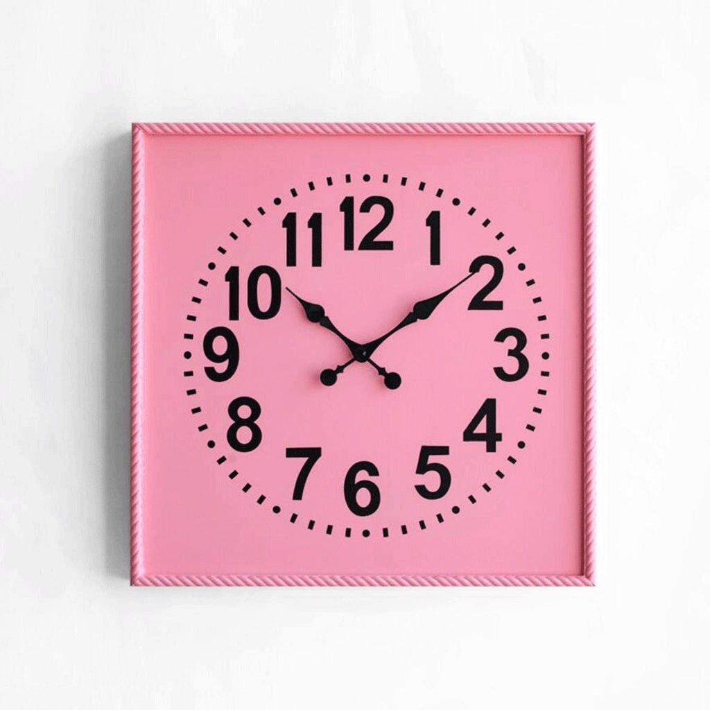 LINGZHIGAN 現代のクリエイティブ時計の居間装飾的な壁時計ミュートクォーツ時計 ( 色 : ピンク ぴんく , サイズ さいず : 46*46cm ) B07BWF89YKピンク ぴんく 46*46cm
