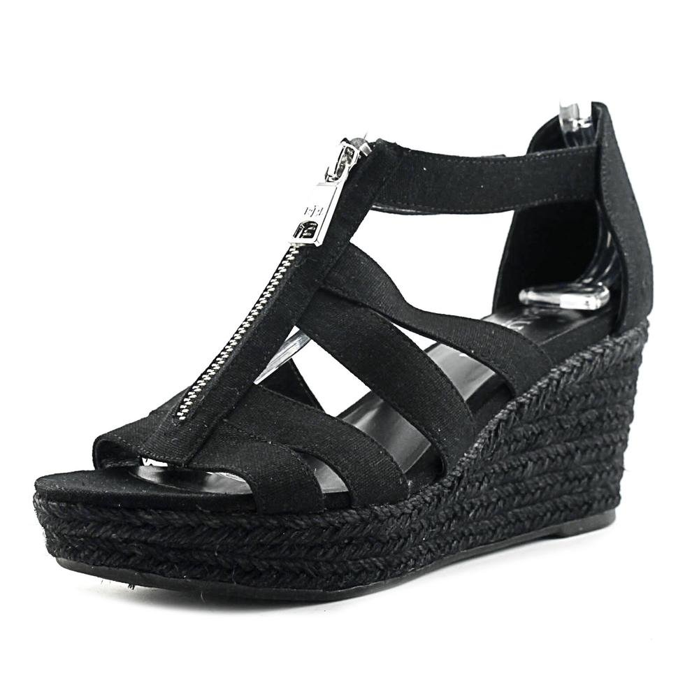 Lauren by Ralph Lauren Womens Kelcie Fabric Open Toe Casual Espadrille Sandals B06Y2LNBWT 9 M US|Black Linen