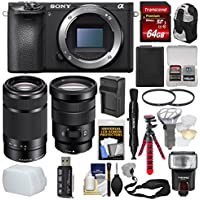 Sony Alpha A6500 4K Wi-Fi Digital Camera Body 18-105mm f/4 & 55-210mm Lenses + 64GB Card + Backpack + Flash + Battery & Charger Kit