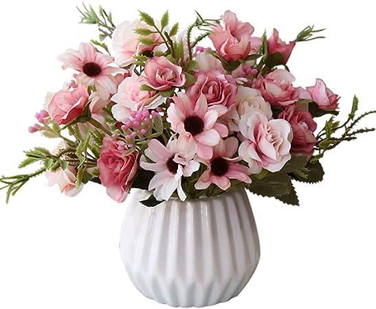 GALACAO Flores Artificiales, Ramo romántico, decoración para el hogar, Boda, jardín, Boda, Ramo de decoración Floral: Amazon.es: Hogar