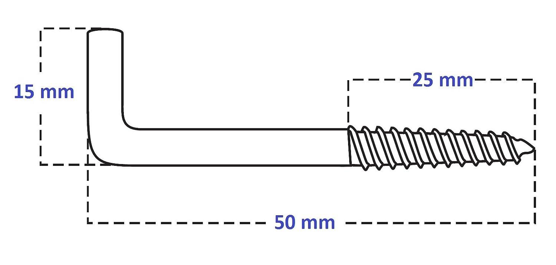 /Ø=4,4mm Wandhaken bis 20kg Winkelschraubhaken 10 St/ück mit D/übel Schlitzhaken Winkelschrauben 15x50mm Schlitzhakenschraube mit Winkel