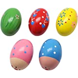 Homgaty 2X Child Kids Egg Maracas Music Shaker Wooden Rattle Percussion Instrument Toy Gift