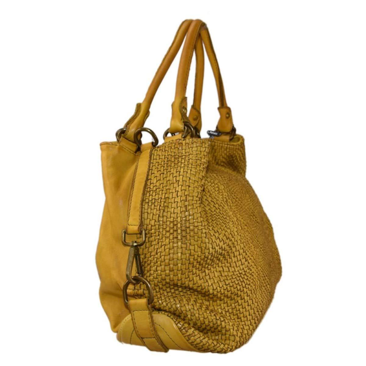 Zeta Shop axelväska av äkta läder, flätad, för kvinnor, vintage, färgad och tvättad, av flätat tyg, tillverkad i Italien gUL