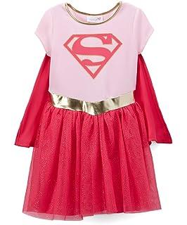 DC Comics Batgirl /& Supergirl Girls Costume Dress Cape Leggings /& Headband