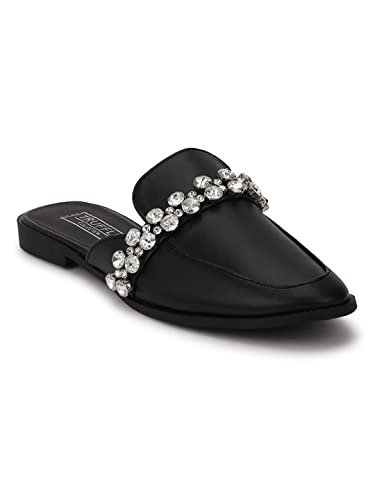 076cbe582ee TRUFFLE COLLECTION Black PU Diamante Open Back Loafer Flats  Buy Online at  Low Prices in India - Amazon.in