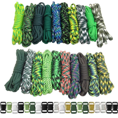 Paracord Planet 550lb Type III Paracord Combo Crafting Kits with Buckles (GREEN GIANT)