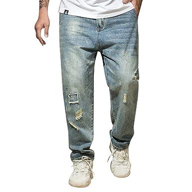 Modaworld _Pantalones de hombre Vaqueros Deporte Jeans De Verano para Hombres Pantalones Largos Ocasionales De Jeans De Moda Tallas Grandes S-8Xl