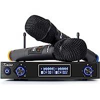 Kmise Karaoke Wireless Microphone System UHF Mic Dual Channel Cordless Handheld Mic Set for Presentation Church