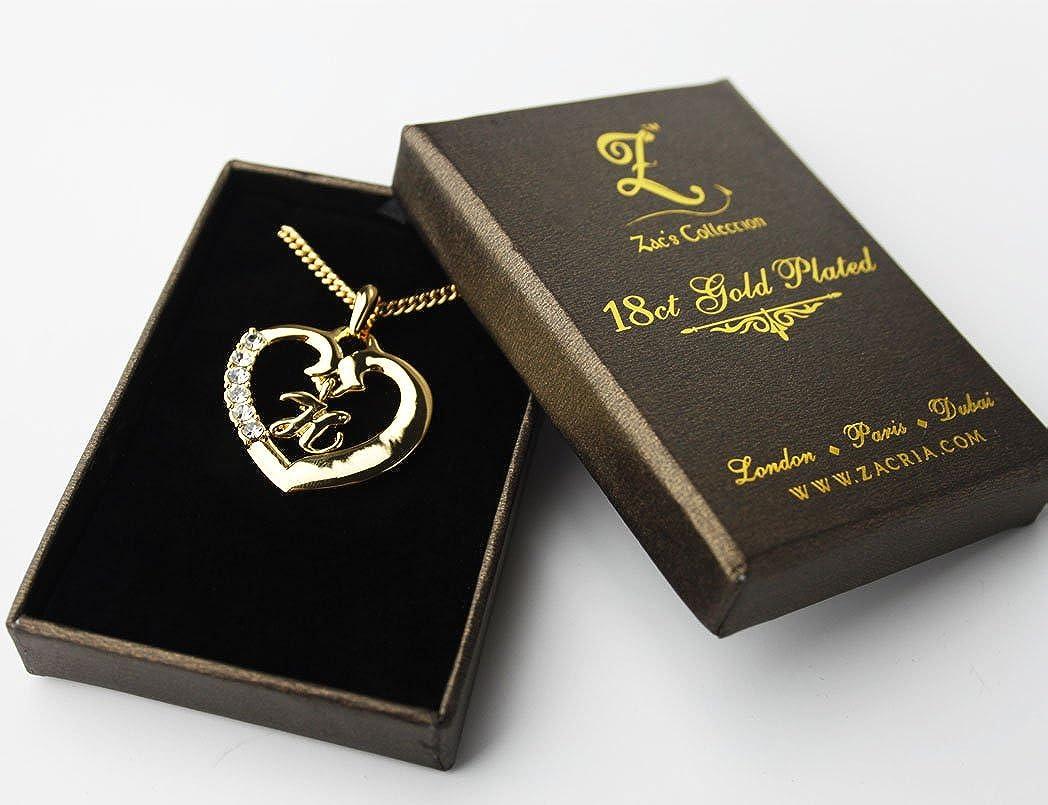 "Amazon.com: Inicial ""H – Collar bañado en oro de 18 K ..."