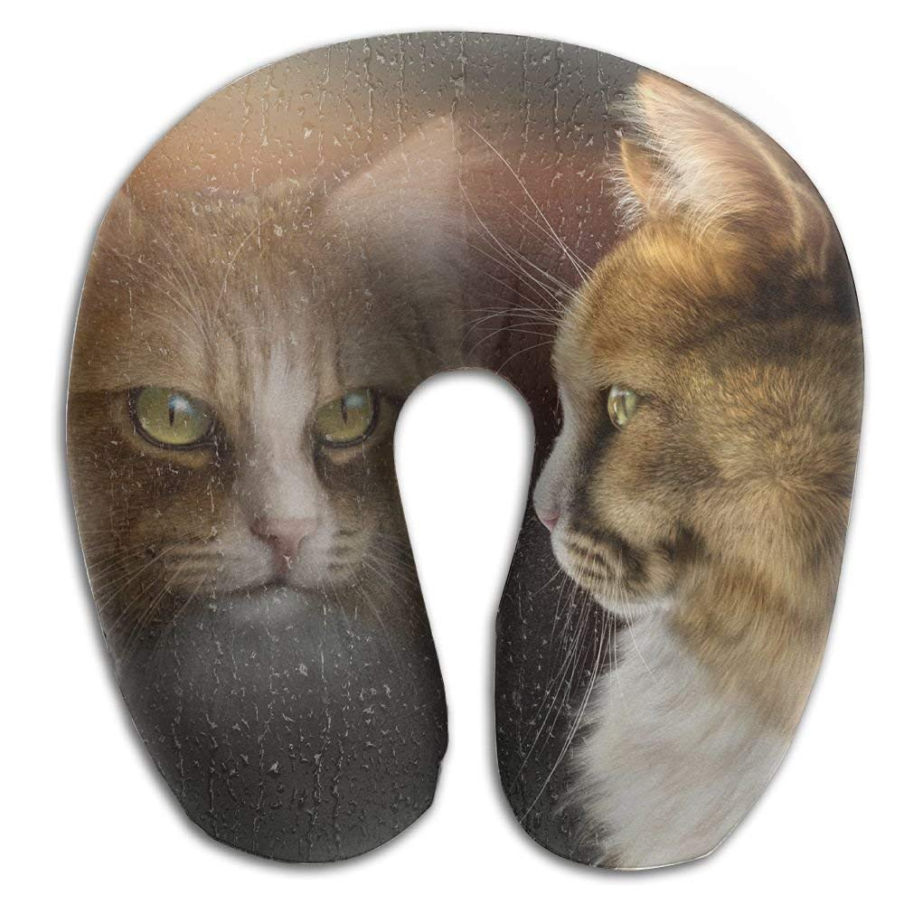U-Shaped Pillow Neck Shoulder Body Care Cats Looked at Window Health Soft U-Pillow for Home Travel Flight Unisex Supportive Sleeping