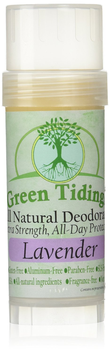 Green Tidings All Natural Deodorant *Extra Strength, All Day Protection* 2.7oz Lavender (Vegan, Cruelty Free, Aluminum Free, Paraben Free, Non Toxic, Solid Lotion Bar Tube)