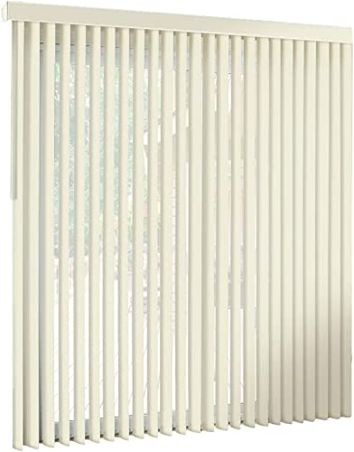 spotblinds Off White-Cordless-Custom-Made, Premium PVC Vertical Blinds -Assembled in The US-Exact Width Length from 86 Wide to 68 Long. This Listing is 101 W x 67 L Vertical Blind.
