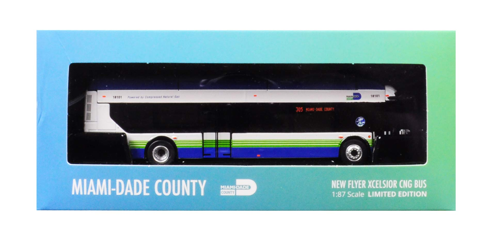 New Flyer Xcelsior CNG Transit Bus 305 Miami-Dade County 1/87 Diecast Model by Iconic Replicas 87-0134