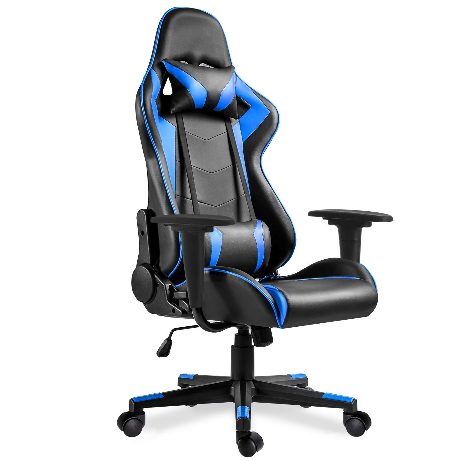 Video Gaming Chair Racing Office-PU Leather High Back Ergonomic 175 Degree Adjustable Swivel Executive Computer Desk Task Large Size,Headrest and Lumbar Support, Blue