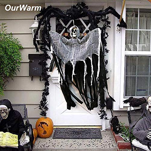 Auwer-Halloween Hanging Ghost Decoration with Realistic Skull Face Grim Reaper Props for Halloween Horror (Black) -